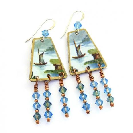 Vintage tin chandelier earrings.