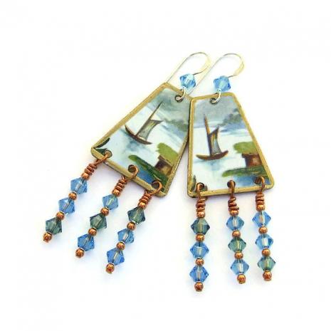 Lightweight dangle earrings.