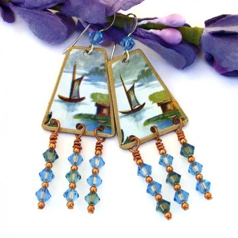 Unique boat earrings for women
