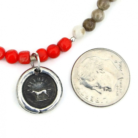 Handmade dog rescue pendant necklace.