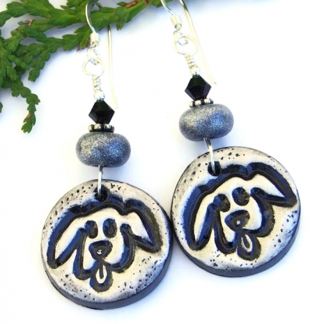 faithful dog handmade earrings lightweight