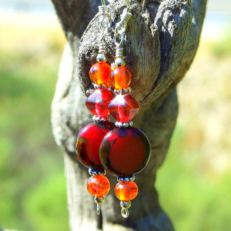 fashion earrings jewelry for women with red and orange Czech glass beads