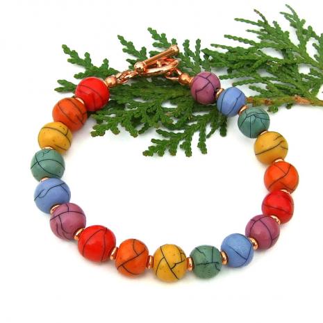 faux magnesite gemstone handmade acrylic bead bracelet