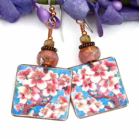 faux vintage cherry blossoms earrings
