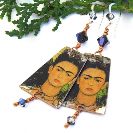 faux vintage frida kahlo earrings with cat gift for women
