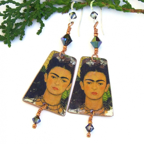 one of a kind handmade frida kahlo earrings
