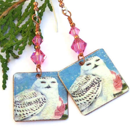faux vintage snowy owl on copper earrings gift for her