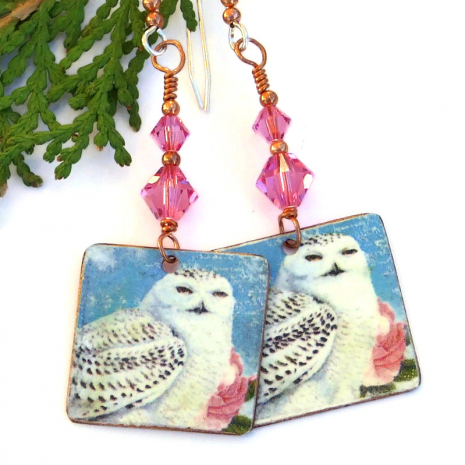 faux vintage snowy owl on copper jewelry gift for her