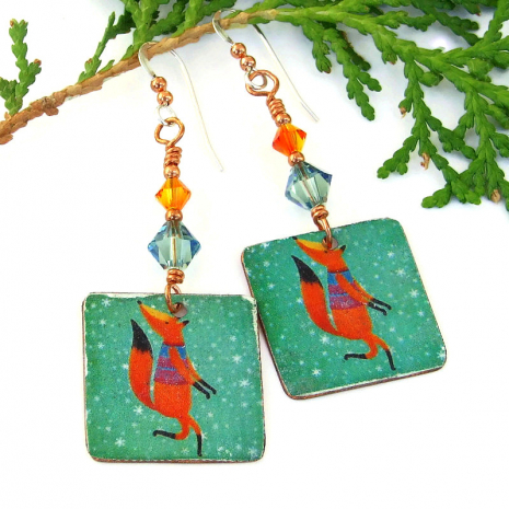 faux vintage tin christmas fox earrings with swarovski crystals