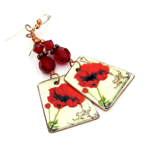 faux vintage tin red poppy earrings gift for her