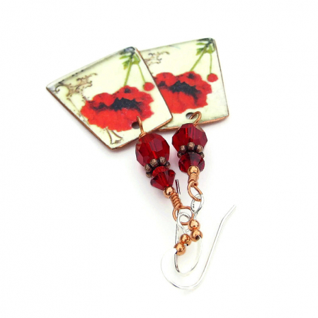 faux vintage tin red poppy jewelry gift for her