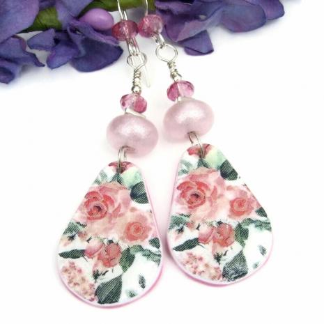 feminine pink roses earrings flowers handmade lampwork
