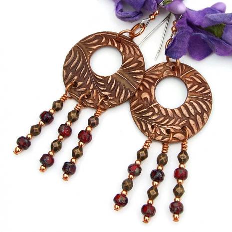 Boho fern chandelier hoop jewelry for women.