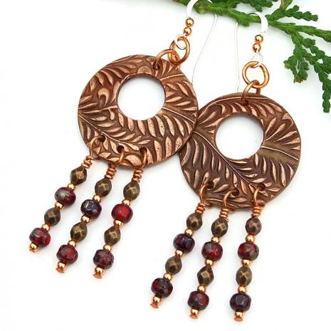 Fern chandelier earrings for women