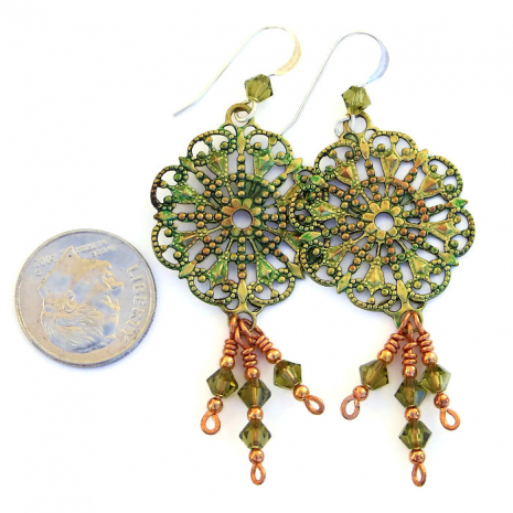 Artisan handmade Victorian filigree earrings with crystals.