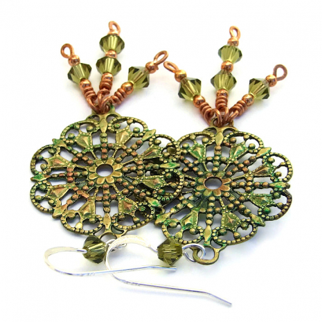 Victorian hand painted green brass filigree earrings.