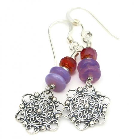filigree mandala flower earrings sterling silver