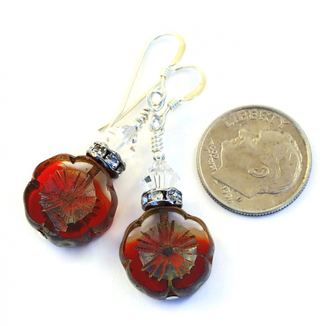 Red flower Christmas jewelry for women