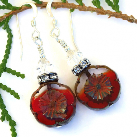 Valentines Day flower earrings.