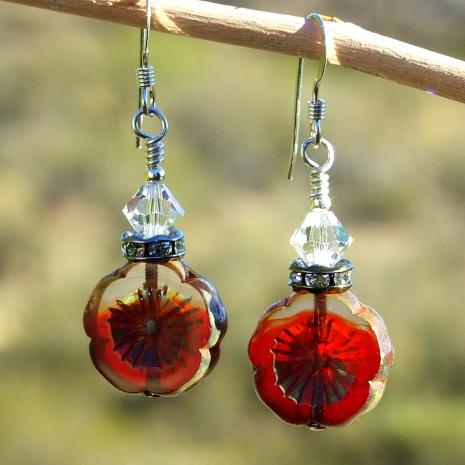 valentines christmas flower earrings