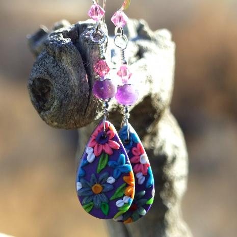 Purple and pink flower earrings.