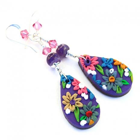 Floral earrings for women, jewelry gift idea.