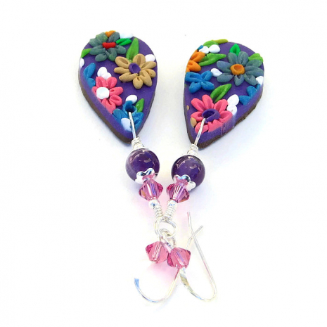 Embroidered polymer clay earrings.