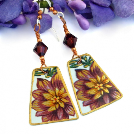 Vintage tea tin flower earrings.