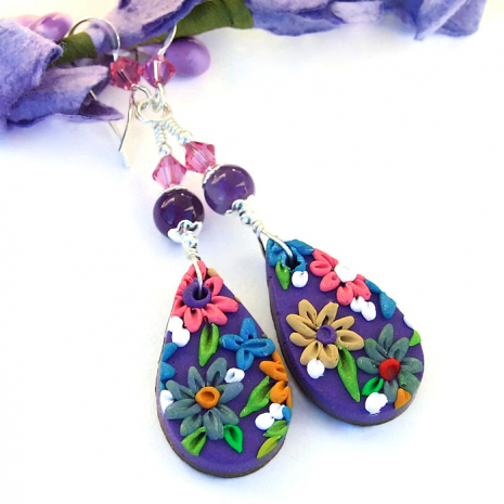 Colorful flower earrings for her.