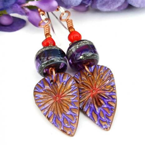 Copper and lampwork dangle earrings.