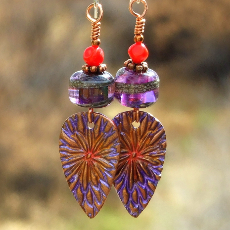 Purple and red flower earrings.