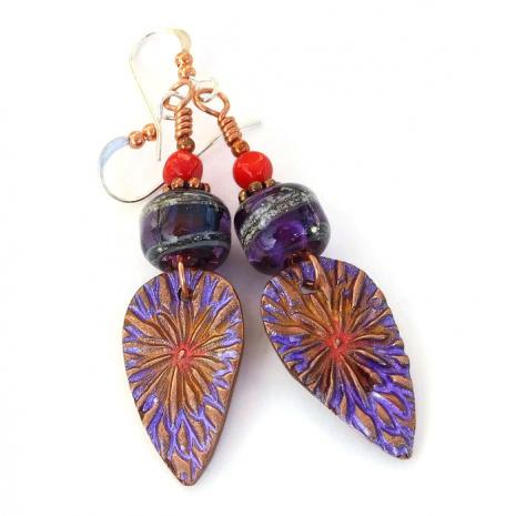 Purple and red boho flower earrings for women.