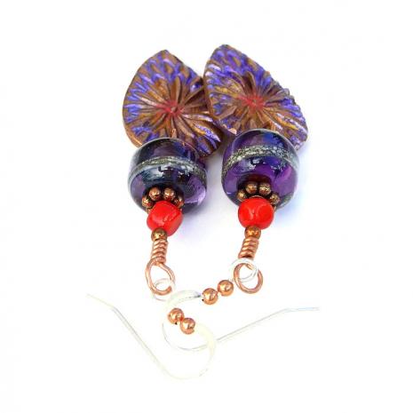 Boho copper flower earrings.