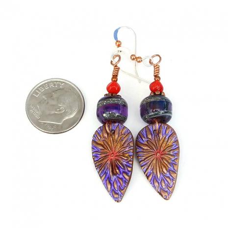 Handmade purple flower earrings for her.