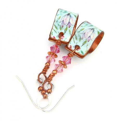 floral flower copper hoop earrings