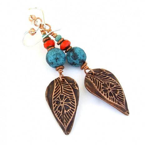 Unique leaf and flower earrings.