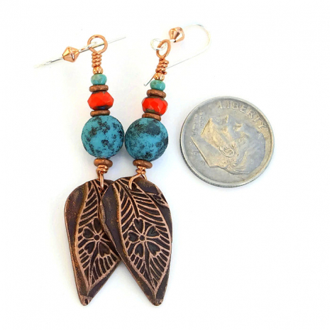 Copper, turquoise and orange earrings for women.