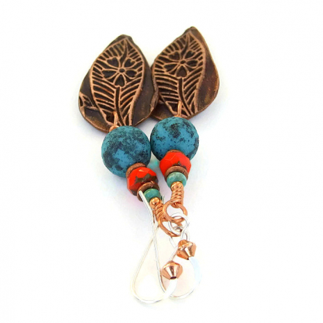 Leaf earrings for women.