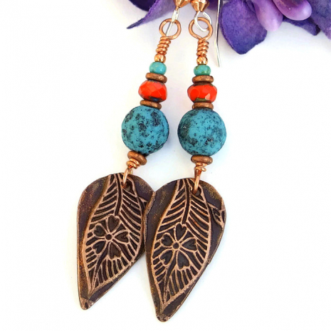 Handmade leaf and flower earrings.