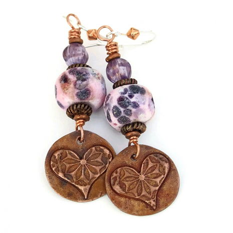 Heart earrings.