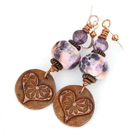 copper hearts and pink lampwork earrings