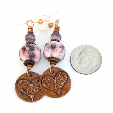 unique heart earrings for her