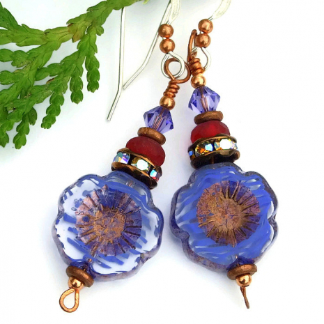 purple pansy earrings with crystals gift idea for women