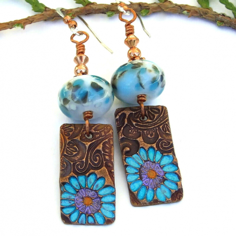flower dangle earrings with copper and lampwork