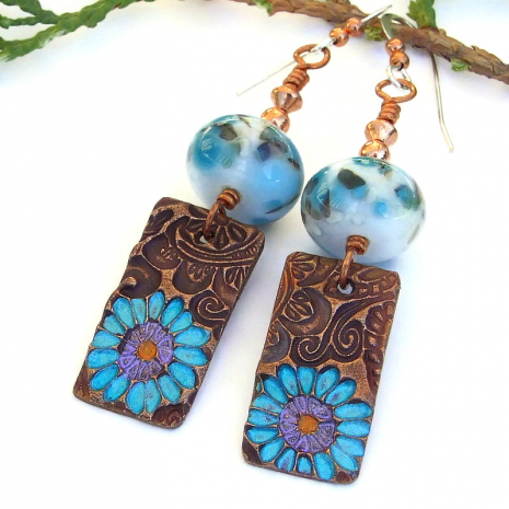 flower dangle jewelry earrings with copper and lampwork