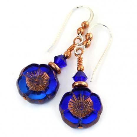 flower earrings cobalt blue indigo blue gift for her