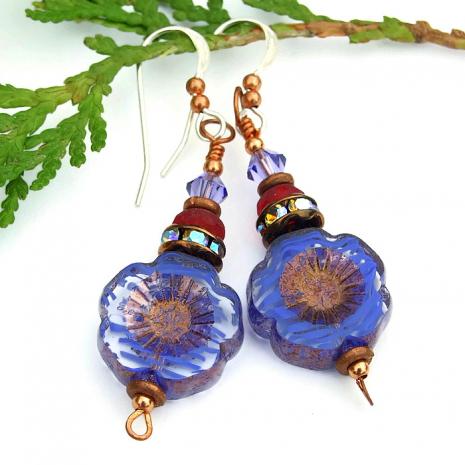 czech glass pansy flower earrings gift idea
