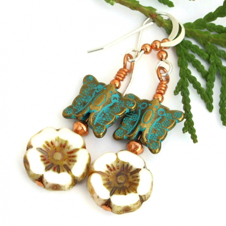 butterfly and flower earrings mothers day gift