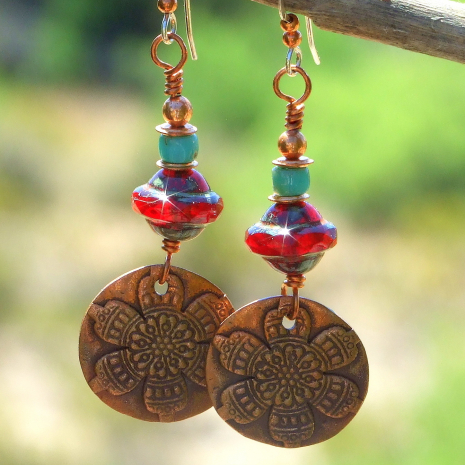 flower mandala earrings with red and turquoise
