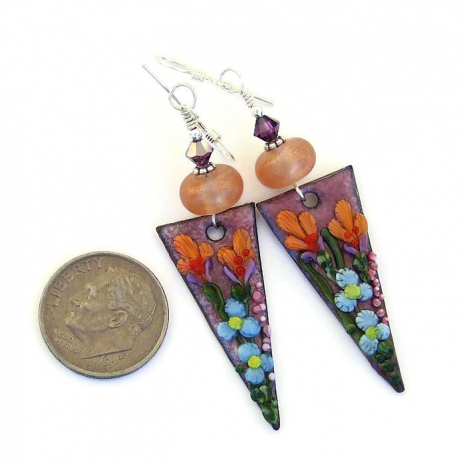enamel flower jewelry with lampwork glass beads and Swarovski crystals